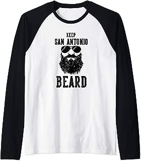 Keep San Antonio Texas BEARD Funny Hipster Retro Raglan Baseball Tee