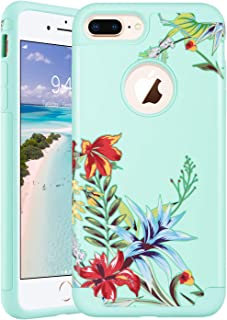 ULAK Protective Case for iPhone 7 Plus, iPhone 8 Plus case, Slim Fit Dual Layer Soft Rubber Silicone Hard Back Cover Anti Scratch Floral Phone Case for iPhone 7 Plus / 8 Plus (Mint Tropical Flower)