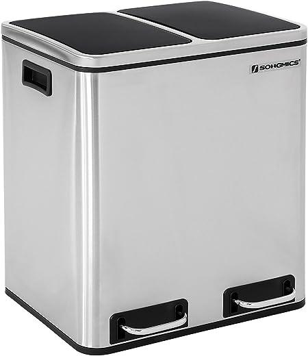 SONGMICS Mülleimer für die Küche, 30 L, Abfalleimer aus Metall, Mülltrennung, Treteimer mit Inneneimern und Griffen, 2 x 15 Liter, Softclose,…