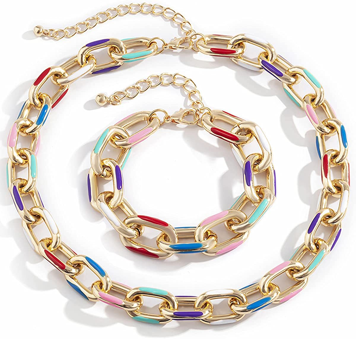 2Pcs Cuban Link Chain Choker Necklace Set for Women,Hip hop Colorful Painted Aluminum Chain Chunky Collar Necklace Bracelet,Thick Chain Statement Necklace Party Jewelry Set