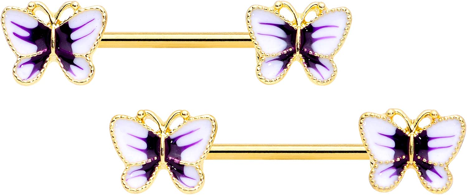 Body Candy 14G Womens Nipplerings Piercing Plated Steel 2Pc Color Butterfly Nipple Ring Set 9/16