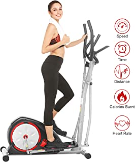 ANCHEER Elliptical Machine, Quiet & Smooth, Magnetic Elliptical Cross Trainer Machine with LCD Monitor and Pulse Rate Grips, Best Exercise Machine Trainer for Home GymOffice Workout