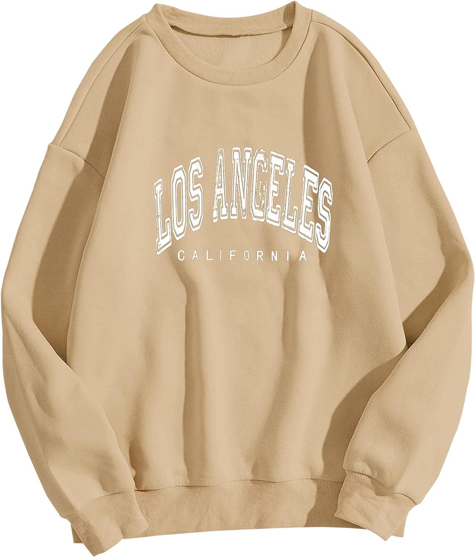 MISSACTIVER Women Oversized Los Angeles California Letter Printed Sweatshirt Crew Neck Long Sleeve Pullover Shirt Jumper Top