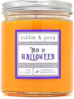 This is Halloween Scented Soy Candle, orange, Smells like candy corn, chocolate, caramel apples, and pumpkin pie