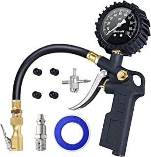 AstroAI Tire Inflator with Pressure Gauge, 100 PSI Air Chuck and Compressor Accessories Heavy...