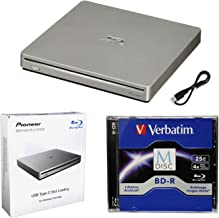 Pioneer BDR-XS07S Portable 6X Blu-ray Burner External Drive Bundle with 25GB M-DISC BD-R and USB Cable - Burns CD DVD BD DL BDXL Discs