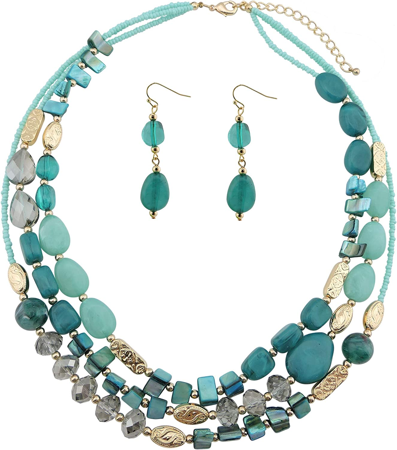 Coiris 3 Multi Layer Shell Glass Beaded Fashion Necklace for Women 21