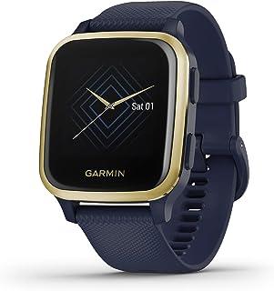ساعة ذكية Garmin Venu Sq وGPS مع شاشة لمس ساطعة، تتميز بالموسيقى وما يصل إلى 6 أيام من عمر البطارية، ذهبي فاتح وأزرق داكن