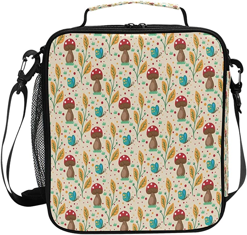 Lunch Box Bag Insulated Lunch Tote Nature Mushroom Background Thermal Cooler Shoulder Strap Portable Food Container Travel Office School Picnic For Women