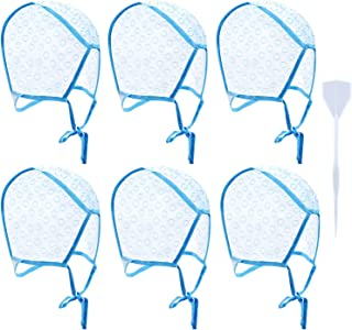 6 Pieces Disposable Tipping Cap Highlight Hair Cap Salon Hair Coloring Highlighting Dye Cap with Plastic Hooks for Dyeing ...