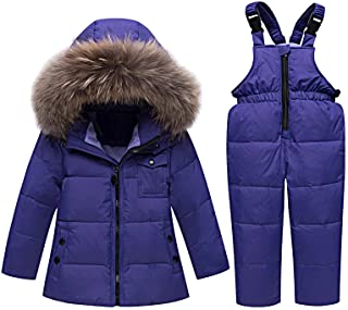 amropi Kombinezon narciarski dla dziewczynek, dziecięcy kombinezon śniegowy, kurtka puchowa z kapturem + spodnie narciarsk...