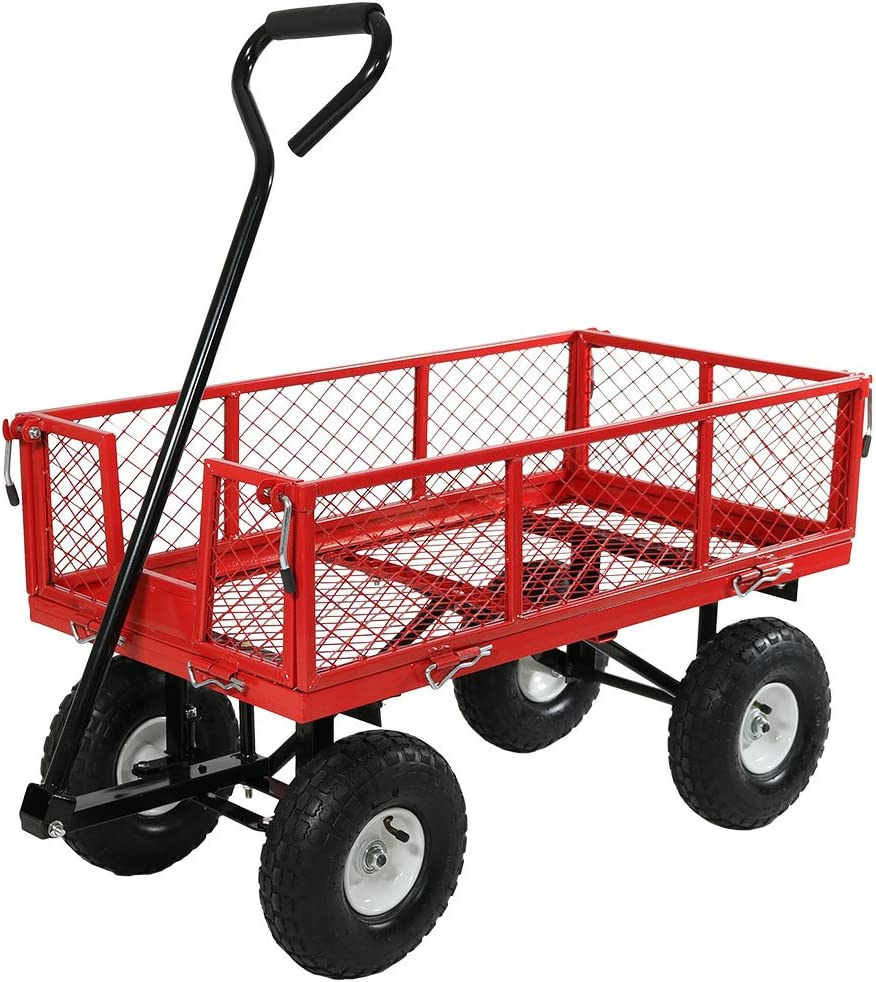 Sunnydaze Max 78% OFF Log Cart Heavy Duty Collapsible Al sold out. 400 Utility Wagon Po