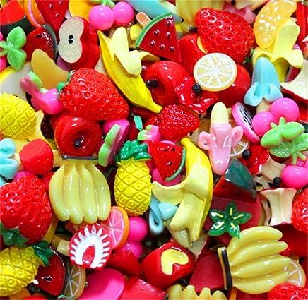 PandaHall Elite 90pcs Cabochons en R/ésine Fruit Cabochons pour la Decoration de T/él/éphone Portable Cadre Photo Bo/îte /à Bijoux Bagues Couleur Melangee 8x7.2cm