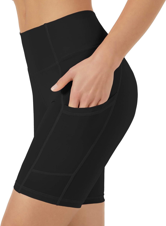 Natural Feelings High Waist Yoga Shorts Side Pockets Fitness Athletic Workout Running Bike Shorts