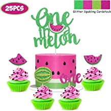 Yaaaaasss! Watermelon Cake Toppers Set of 25 One in a Melon Cupcake Decorations Baby Shower Girl 1st Birthday Supplies Glitter Summer Fruit Sweet to be One Themed Party