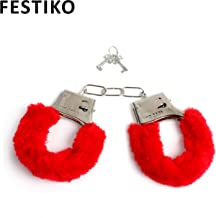 Festiko Fuzzy Handcuffs Soft Metal Handcuffs Bachelorette Night Party Handcuffs (Red)
