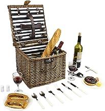 Cesta de picnic de mimbre, cesta de picnic de sauce para 2