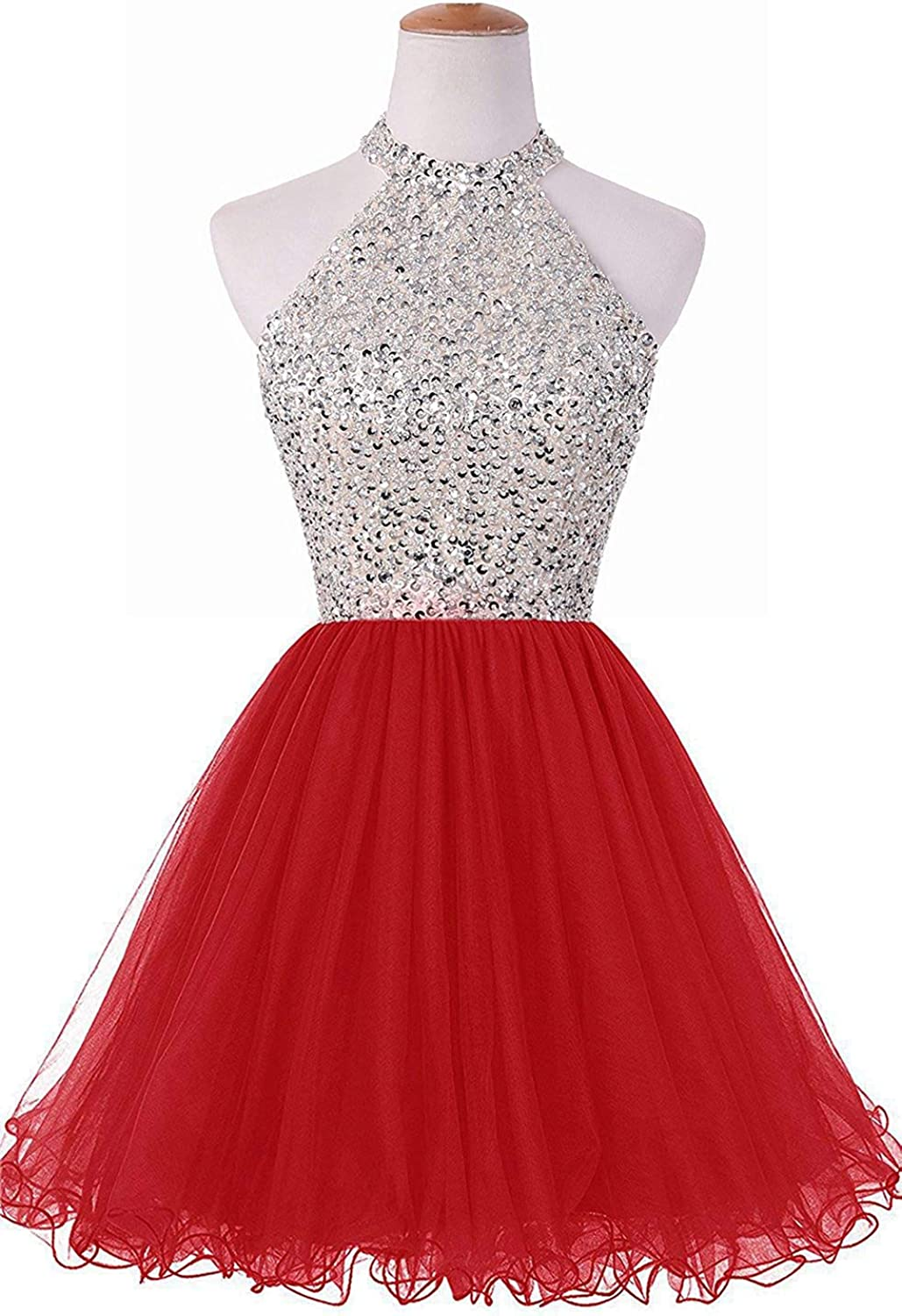 Uther Short Cocktail Party Dress Beading Prom Gowns Juniors Sequins Homecoming Dresses