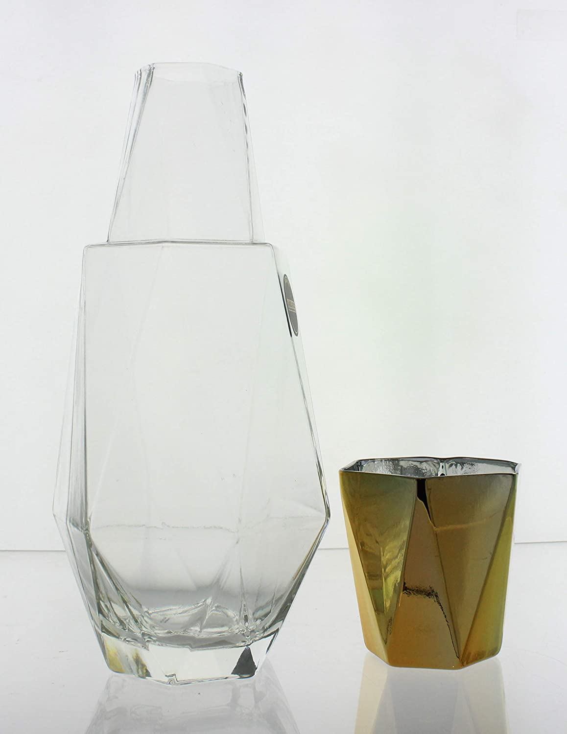 Elegant Pitcher and Matching Drinking Glass Doubles As Lid for Guest Room Office Gold Fifth Avenue Crystal Modern Geometric Bedside Water Carafe with Tumbler