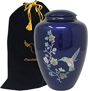 Exquisiteurns Handcrafted Fiber Glass Cremation Urn - Mother of Pearl Adult Urn - Handcrafted Light weighed Adult Funeral Urn for Ashes - Great Deal Free Velvet Bag and Ash Bag (Blue Hummingbird)