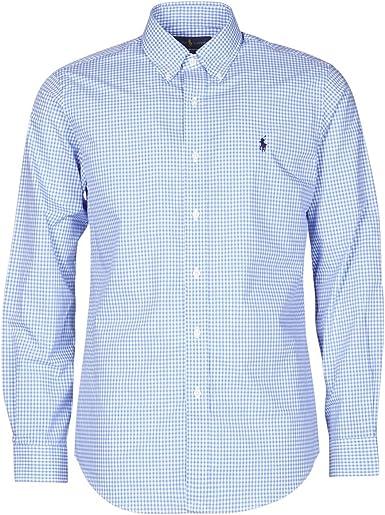 Ralph Lauren Camisa Cuadros Vichy Azul para Hombre M: Amazon ...