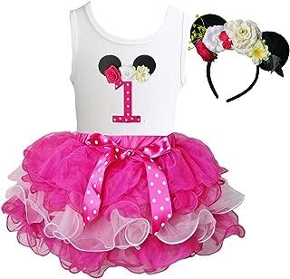 Kirei Sui Hot Light Pink Tutu 1st - 6th Birthday Tee & Floral Mouse Headband