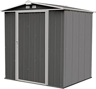 Arrow 6' x 5' EZEE Shed Charcoal with Cream Trim Low Gable Steel Storage Shed with Peak Style Roof