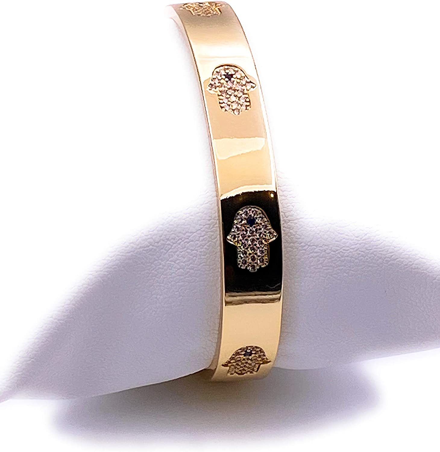 LESLIE BOULES 18K Gold Plated Hamsa Hand Cuff Bracelet for Women Lucky & Protection Jewelry for Her
