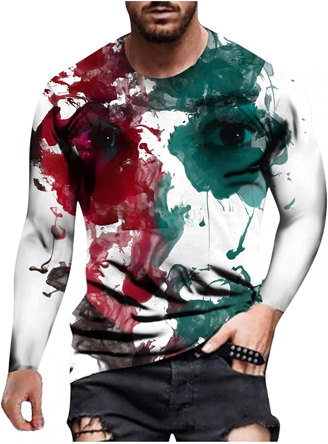 Aayomet Men's Tee Shirts Fashion Graphic Tops Casual Athletic Long Sleeve Pullover T-Shirts Blouses for Men