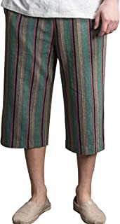 (キュミオ) QeMIO 7分丈パンツ メンズ サルエルパンツ ワイドパンツ ズボン ファッション 綿麻 袴パンツ 短パンツ ショートパンツ ハーフパンツ カジュアル 夏秋 通気性 大きいサイズ