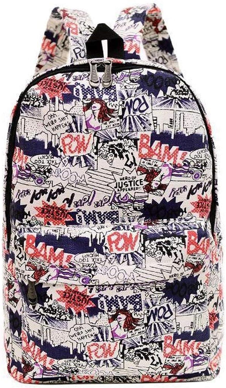 Simple Canvas Backpack, Fashion Printing Boys and Girls Cartoon Knapsack Leisure Sports Travel Rucksack Unisex School Bag (Design   B)