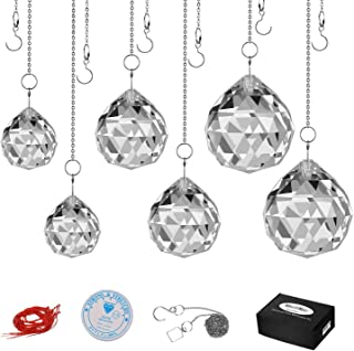 MerryNine Clear K9 Crystal Prism Ball Pendant kit Suncatcher Rainbow Pendants Maker, Hanging Crystals Prisms with Fish lin...