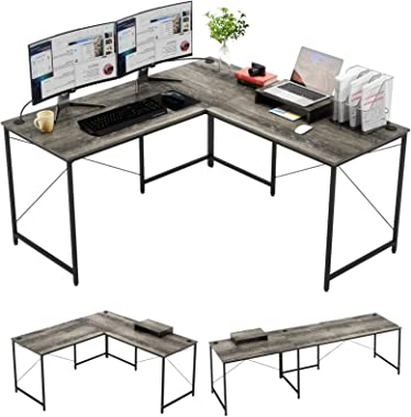 Bestier L Shaped Industrial Desk 95.2 Inch Reversible Corner Computer Desk or 2 Person Long Table for Home Office Large U Sha