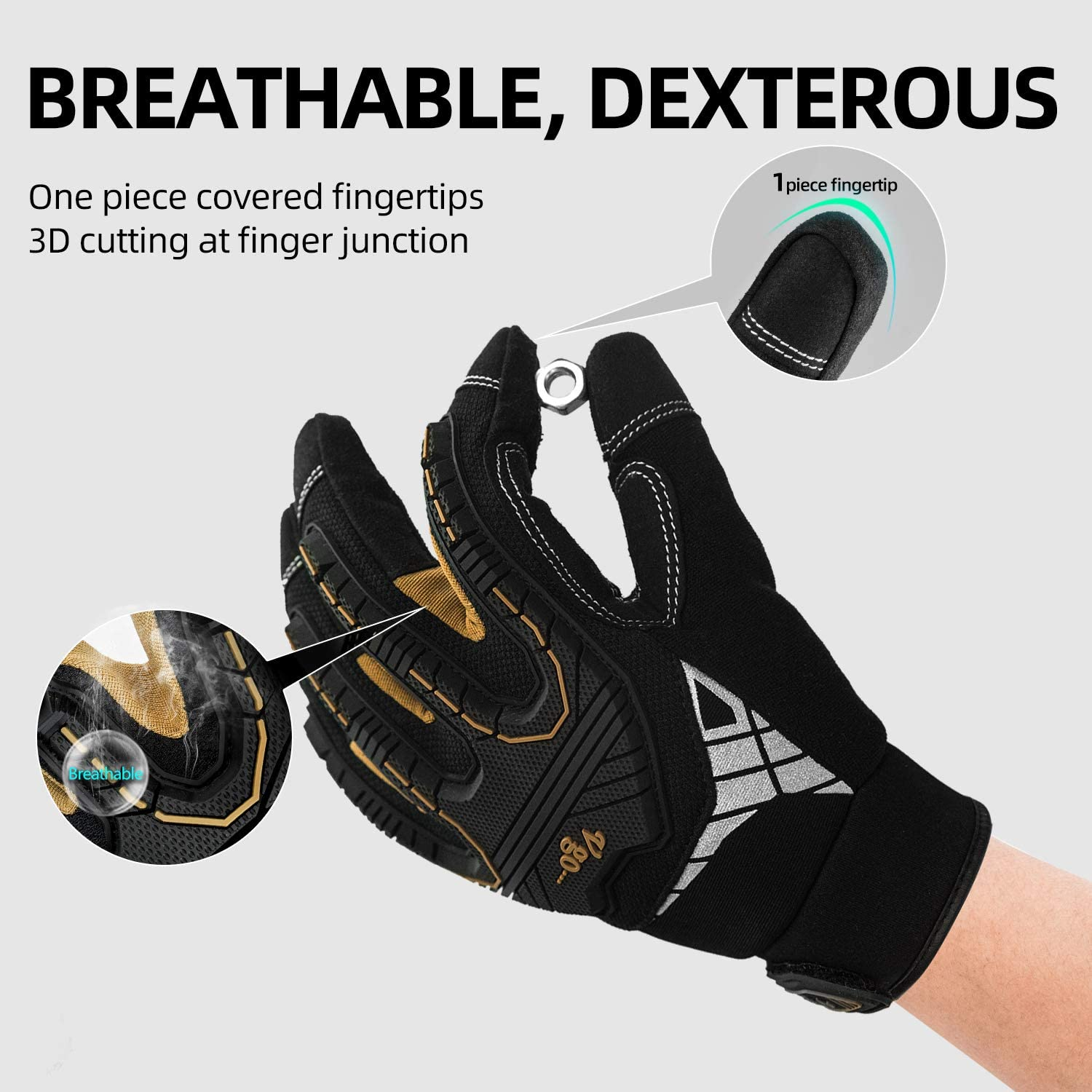 Size L, Black, SL8849 Impact Protection Mechanic Gloves High Dexterity Vgo 1-Pair Heavy-Duty Synthetic Leather Work Gloves Rigger Gloves Touchscreen Capable Vibration Reduction
