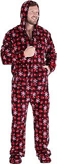 Men's Fleece Hooded Footed Onesie Pajamas,