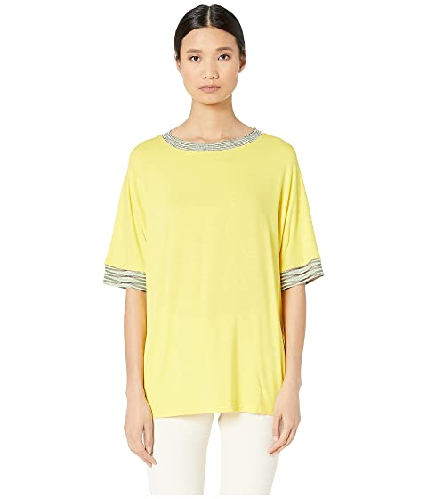 M Missoni Short Sleeve Jersey Top with Space Dye Trim At Sleeve