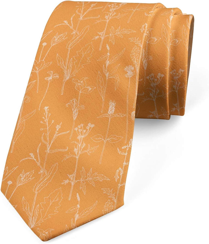 Ambesonne Men's Tie, Blooming Leaves, Necktie, 3.7