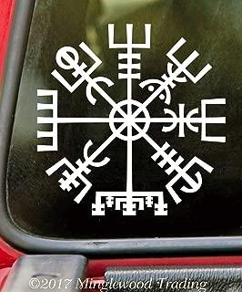 "Minglewood Trading - White - Viking Compass 5"" x 5"" Vinyl Sticker - Norse Vegvisir Magic Rune Pagan - Die Cut Decal - 20 Color Options"