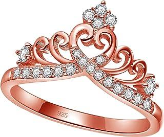 خواتم تاج الأميرة الملكة للنساء فتاة اتيرنيتي خاتم وعد على شكل قلب الزركون مجوهرات الحجم 4-12.5