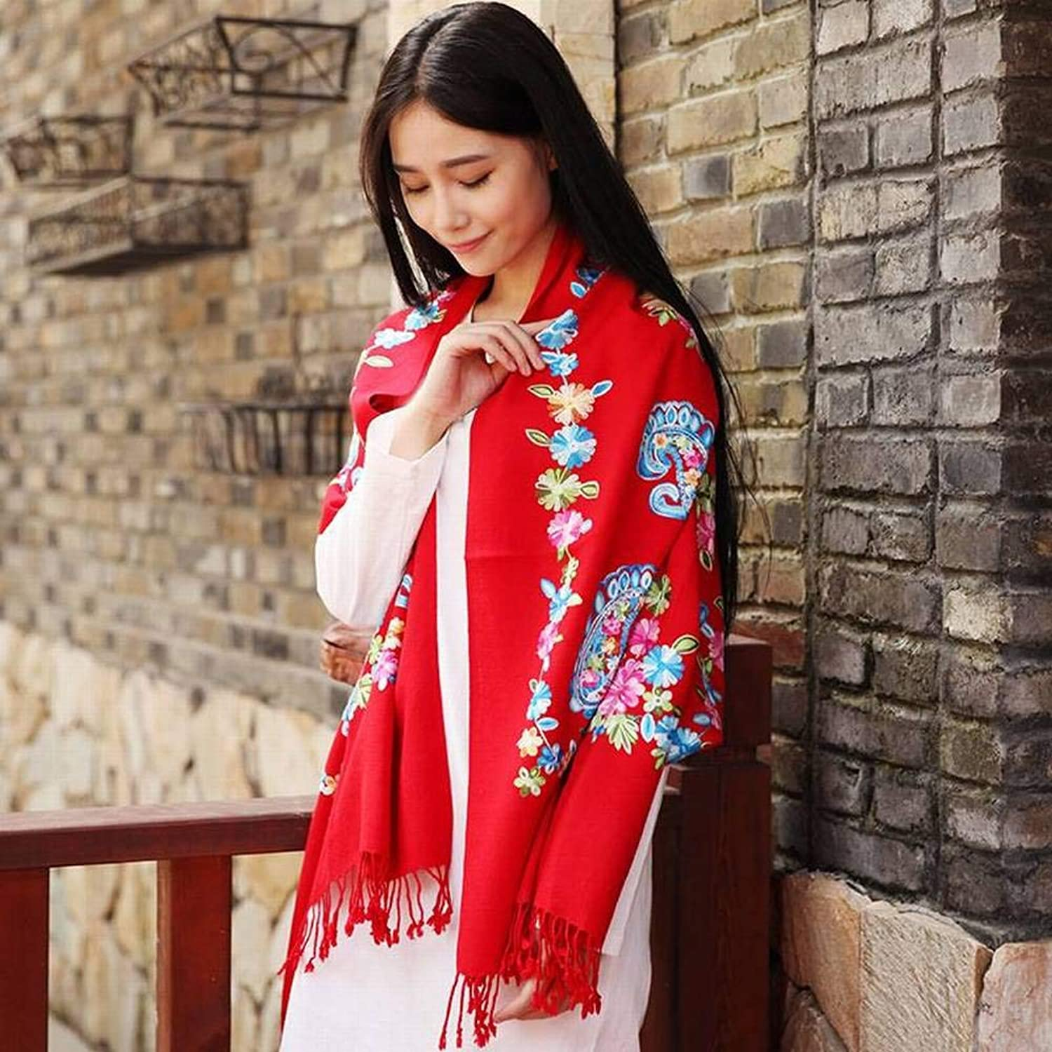 WJL Vintage Ethnic Embroidery Wool Female Warm Flower Long Scarf Autumn Winter Outdoor Multi-Functional Fgreyion Trend Wild Warm Shawl Scarf Gift