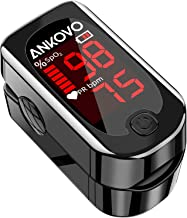 Pulse Oximeter Fingertip, ANKOVO Blood Oxygen Saturation Monitor with Pulse Rate, Heart Rate Monitor, Portable Pulse Ox with 2 Batteries and Lanyard (Royal Black)