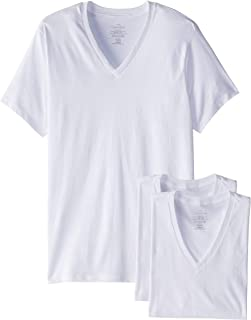 Calvin Klein Men's 3-Pack Cotton Classic Short Sleeve V-Neck T-Shirt, White, Small
