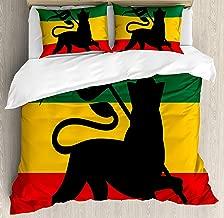 Bedding 4 Piece Rasta Rastafarian Flag with Judah Lion on Reggae Music Inspired Decor Image Duvet Cover Set 4 Pcs Set (1 Duvet Cover, 1 Bed Sheet, 2 Pillowcases) Bedding Sets, Queen