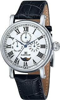 EarnShaw Men's Maskelyne 45mm Black Leather Band Steel Case Quartz Silver-Tone Dial Watch ES-8031-01