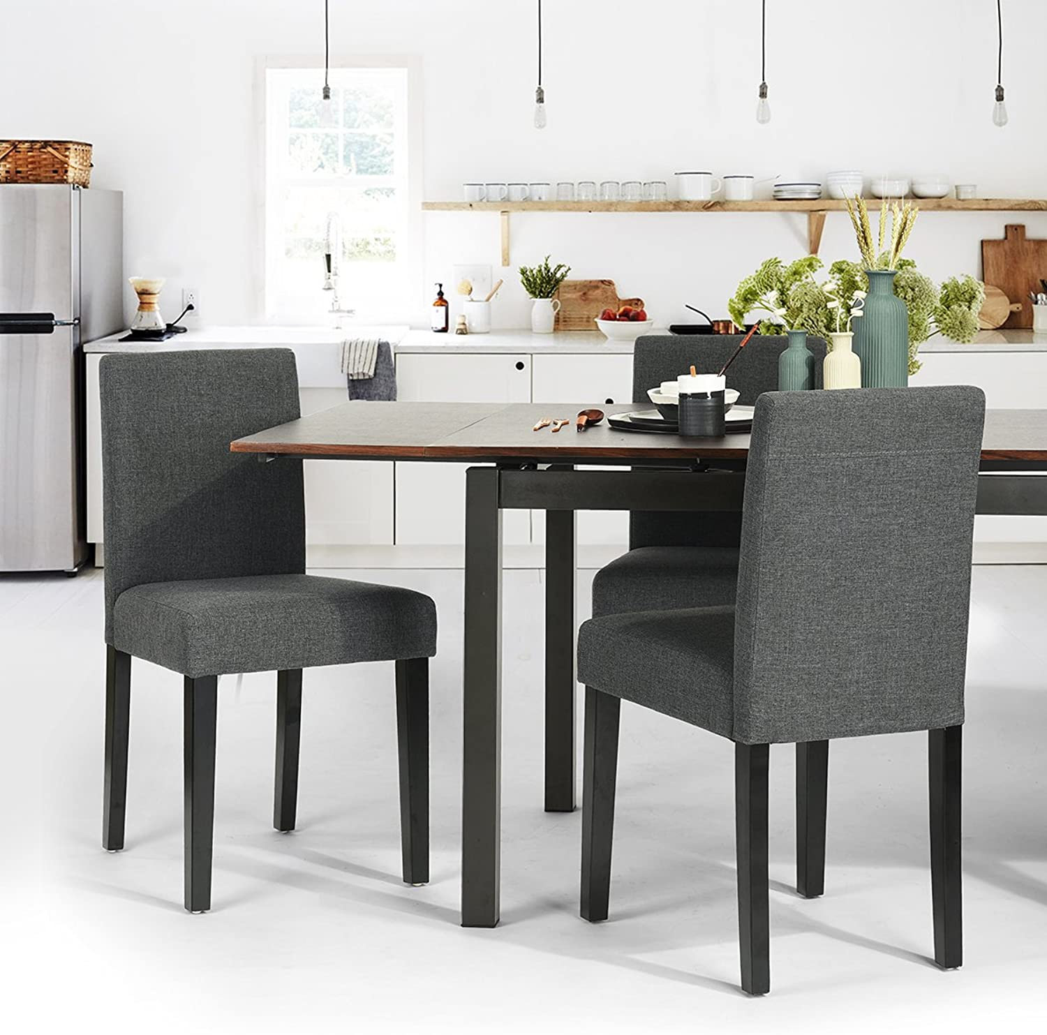 HOMEMAKE Set of 2 PU Leather Parson Dining Chairs, Home Dining Room Classic Padded Side Chairs Full KD Legs (Fabric Grey)