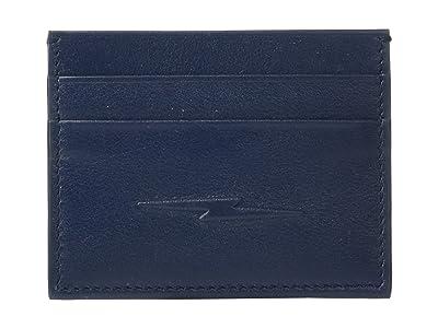 Shinola Detroit Five-Pocket Card Case w/ Bolt Smooth Grain Leather (Navy) Wallet Handbags