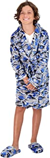 Sleep On It Coral Fleece Printed Robes for Boys with Shawl Collar – Med. Length (Blue Camouflage, Small (6/7))