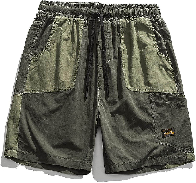 Katenyl Men's Personality Patchwork Cargo Shorts Fashion Loose Retro Trend Multi-Pocket