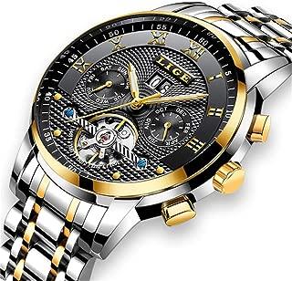 LIGE Men's Watch Waterproof Stainless Steel Automatic Mechanical Watches Men's Luxury Business Fashion Gold Black Sports Watch