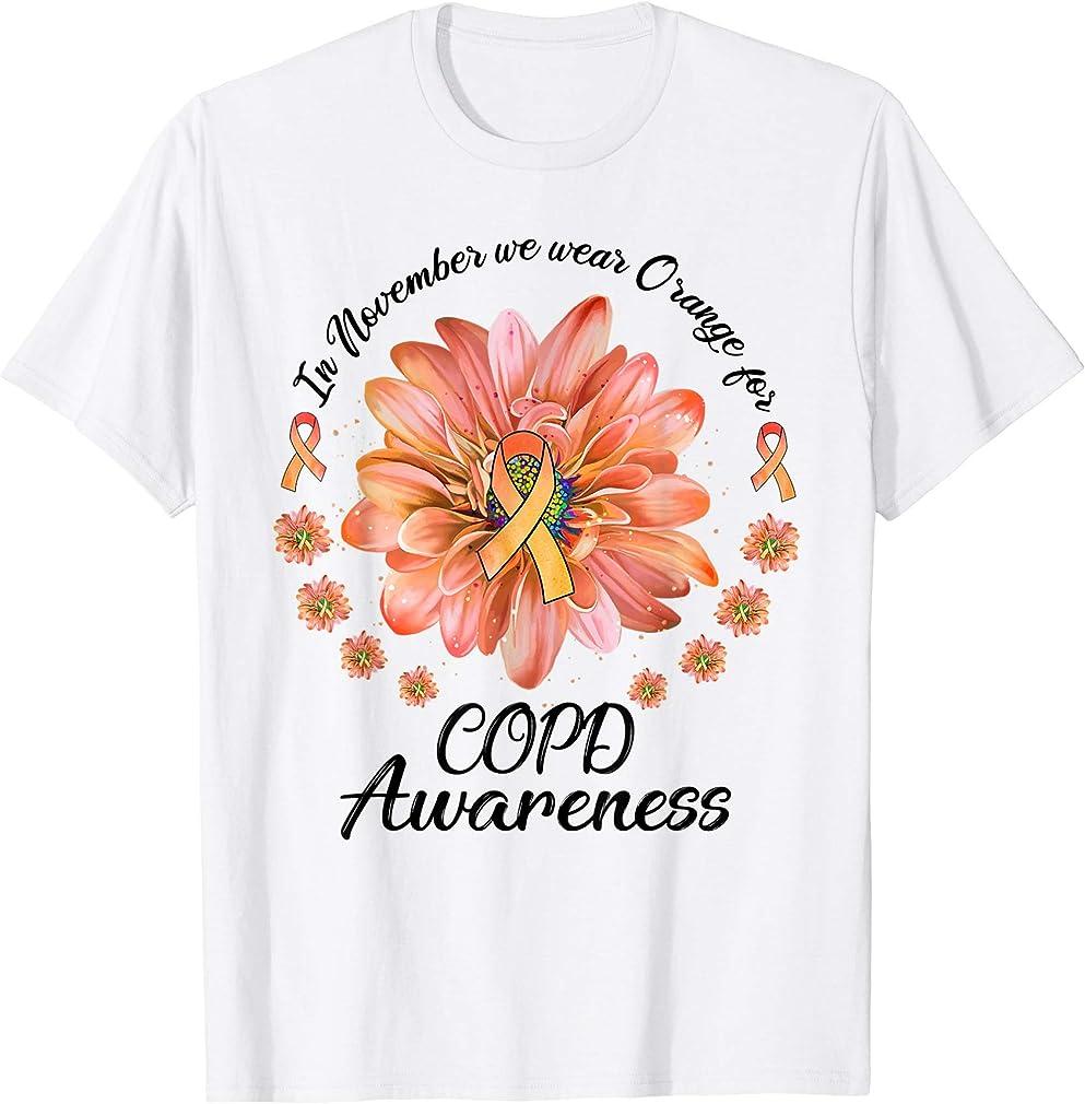 Daisy Flower In November We Wear Orange For Copd Awareness T-shirt